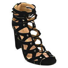 Chase & Chloe EC39 Women's Studded Caged Lace Up Zip Block Heel Dress Sandals