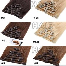 "20""22"" 7pcs 100% Remy Real Human Hair Extensions DIY Clip In Full Head US XL989"