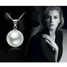 Fashion Elegant Black White Single Pearl Pendant Necklace Silver Tone Jewelry