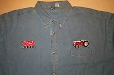 Mens Ford 8N & Ford Tractor Logo Embroidered Denim Shirt with Pocket