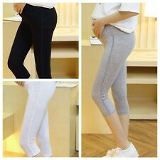 New Pregnant Women Elastic Capris Pant Solid Pleated Cotton Maternity Leggings