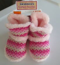 NEW Girl Toddler *12*18*24 months*3T* SKIDDERS Pink Knit Bootie Slippers Gripper
