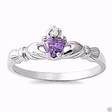 USA Seller Claddagh Ring Sterling Silver 925 Best Price Jewelry Gift Amethyst CZ
