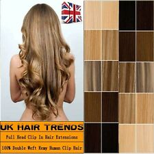 THICK 100% Double Weft Clip In Remy Human Hair Extension Festival USED UK QU131