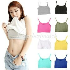 Sports Cotton Short Tank Boob Tube Top Bra Sleeveless  Women's Sexy