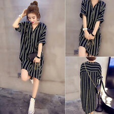 Graceful Women's Chiffon Loose Button Down Striped Casual Top Blouse Shirt Dress