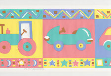 Car Tractor Race Blue Teal Yellow Pink Vinyl Vintage Wall Paper Border Wallpaper