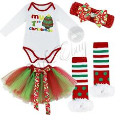 4PCS Infant Baby 1st Christmas Tree Romper Tutu Skirt Girls Dress Outfit Clothes