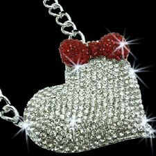 "3.5"" *HUGE* GOLD or SILVER HEART Micro Pave Set RUBY RED BOW Crystal Cz Necklace"