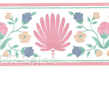White Pink Tulip Shell Floral Yellow Blue Bloom Vintage Wallpaper Wall Borders