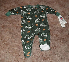 New York Jets One Piece Footed Flannel Pajamas NWT Baby/Infant Sz 12 m, 18 m,