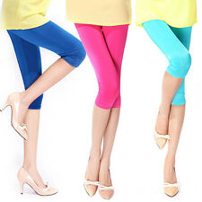 New CHIC Women's Candy Color Stretchy Cropped Leggings Slim Sexy Shorts Pants