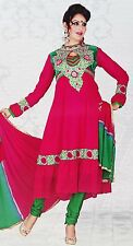 Bollywood Suit Embroidered Anarkali Salwar Kameez Pink Georgette Semi Stitched
