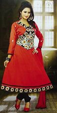 Red Semi Stitched Salwar Kameez Embroidered Bollywood Wear Suit Indian Dress