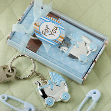 24 Blue or Pink Baby Carriage Key Chain Favors Baby Shower Favor Boy or Girl