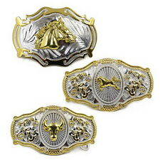 Men's Vintage Metal Big Bull Horse Rider Rodeo Belt Buckle Cowboy Texas Western