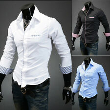 New Mens Slim Fit Checked Long Sleeve Casual Luxury Fashion Dress Shirts 5 Color