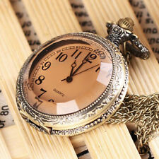 NEW Antique Vintage Bronze Tone Pendant Pocket Quartz Watch Chain Necklace Gift