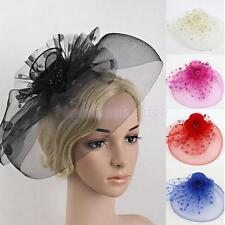 Fashion Flower Dot Mesh Fascinator Cap on Clip Birdcage Cocktail Party Head Wear