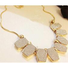 Crystal Matte Geometry Charms Pendant Chain Bib Choker Chunky Jewelry Necklace