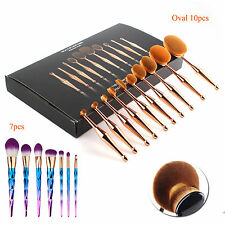 10PCS Toothbrush Elite Oval Makeup Brushes Set Golden Deluxe Foundation Contour