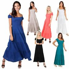 Womens Ladies Sexy On Off Shoulder Boho Hippie Shirred Maxi Sun Dress Long Gown