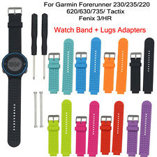 Soft Silicone Strap Replacement Watch Band + Lugs Adapters For Garmin Fenix 3/HR