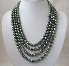 "Long 25"" 36"" 50"" 65"" 80"" 8-9mm Natural Rice Black Akoya Cultured Pearl Necklace"