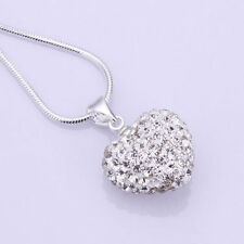 Fashion women Crystal Heart Silver Plated Necklace Jewelry Pendant Chain