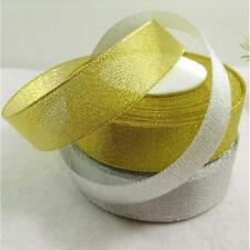 25Yards Roll Gold Silver Sheer Organza Ribbon Bow Craft Party Wedding Decoration