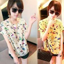 New Women Ladies Colorful Birds Chiffon Short Sleeve Loose Blouse T-Shirt Tops