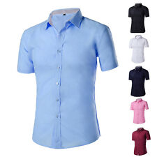 Mens Luxury Casual Slim Stylish Dress Shirts Short Sleeve Buttons Casual Shirts