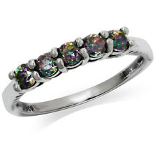 5-Stone Mystic Fire Topaz 925 Sterling Silver Stackable Ring