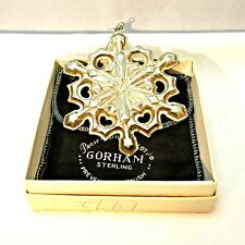 Vintage 1979 Gorham Sterling Silver Snowflake Christmas Ornament with Original B