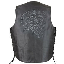 Xelement Embossed Indian Head Motorcycle Leather Vest with Gun Pocket
