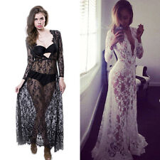 Vogue Women Lady's Sexy Soft Lace Perspective V-Neck Cocktail Party Long Dress