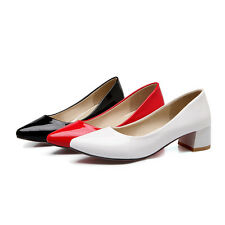 Pointed Synthetic Patent Leather Med Heel Wedding Formal Lady Shoes AU Size s022