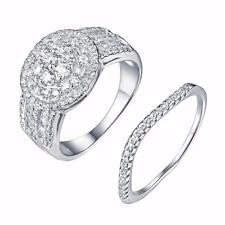 Womens Pc Wedding Ring Engagement Bridal Set 925 Silver Simulated Diamond Band