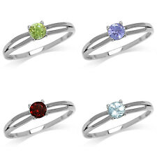 Peridot/Tanzanite/Garnet/Blue Topaz White Gold Plated 925 Sterling Silver Ring