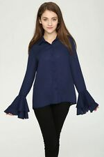 New Womens Ladies Navy/White Ruffled Long Sleeve Button Down Shirt Blouse Tops