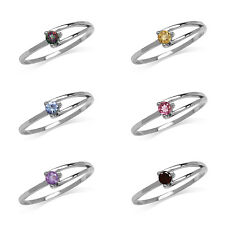 Garnet,Amethyst,Tanzanite,Citrine,Topaz Sterling Silver White Gold Plated Ring