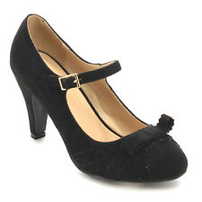 Beston CC61 Women's Round Toe Mid Heel Bow Tie Mary Jane Dress Pumps Black Navy