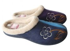 Womens Floral Faux Suede Upper Two Tone Cosy Warm Slippers Mules Sizes 3-8