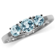 1.27ct. 3-Stone Genuine Blue Topaz 925 Sterling Silver Ring