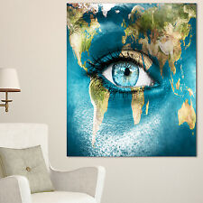 Planet Earth and Blue Eye - Abstract Digital Art Canvas Print