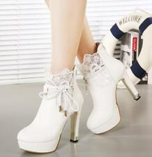 New Womens Lace-Up High Heel Ankle Boots Platform Chunky Wedding Shoes Sz A01456