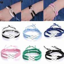 2pcs Hand Woven Infinity Braided Wristband Bracelet Bangle For Lover Friendship