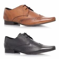 Mens Designer Leather Derby Pointed Lace Up Smart Formal Shoes RRP £89