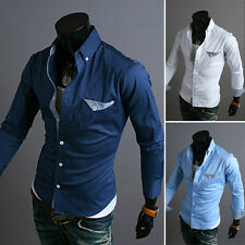 Mens Long Sleeve Dress Shirts Button Front Slim Fit T-shirt Casual Shirts Tops