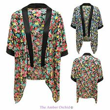 Womens Ladies Floral Print Kimono Vintage Top Cape Open Cardigan Blazer Jacket
